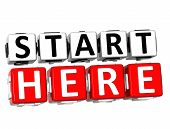 3D Start Here button icon over white background poster