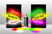 Banner or flyer with the effect of splattered paint and aerosol cans for advertising poster