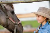 Ranch - Lovely girl with horse on the ranch, horse whisperer poster