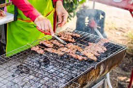 Grilling pig on Sticks - Thai food
