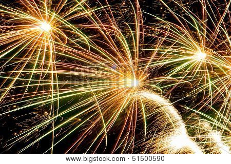 Colorful Fireworks Over Dark Sky