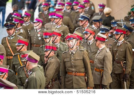 KRAKOW, POLAND - SEP 21: Unidentified participants feast of the Polish cavalry in the National Museum, Sep 21, 2013 in Krakow, Poland. Festival is held in honor of the battle 12 Sep 1683 year.