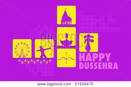 illustration of Happy Dussehra Holiday background with Rama and Rvana
