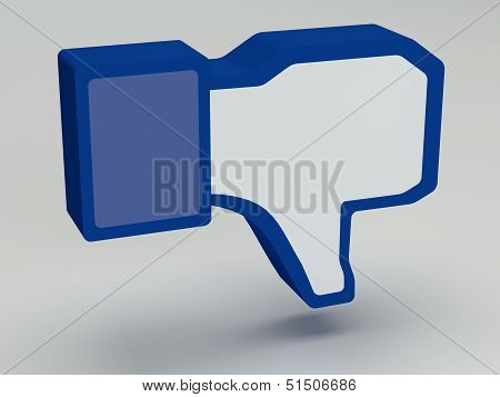 A 3-D Thumbs-down icon as a sign poster