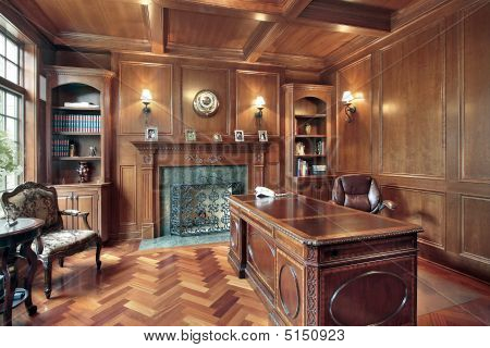 office wood paneling. Wood Paneled Office With Fireplace Paneling