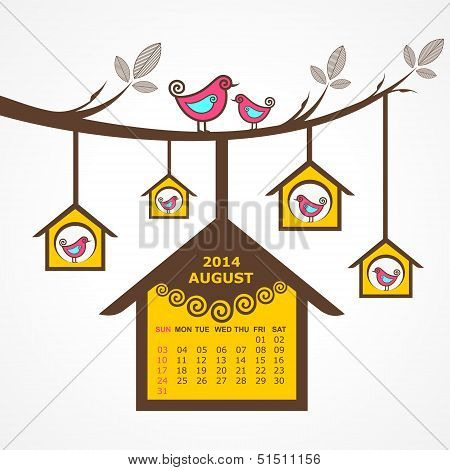 Calendar of August 2014 with birds sit on branch stock vector