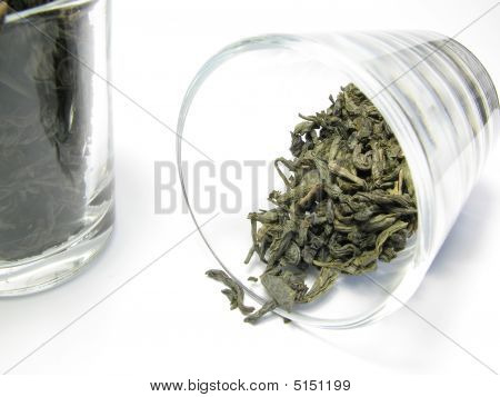 Green And Black Tea In Glass