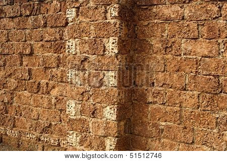 Detail of the typical wall with big limestone blocks in rural areas of Crimea Ukraine poster