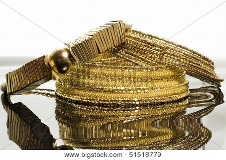 Three Elegant Gold Necklaces For Women,