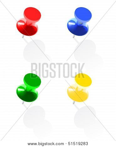 Photo Realistic Colorful Pins Isolated On White Background