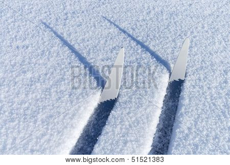 Fragments of cross-country skis in a friable snow with shadows poster