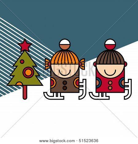 Ice Skating Kids And Christmas Tree