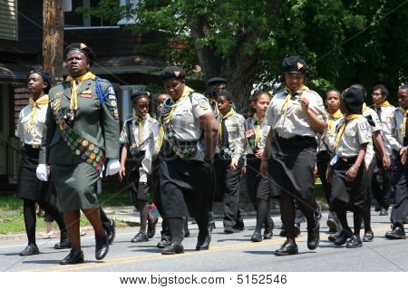 African Americans Marching At Memorial Day Parade.