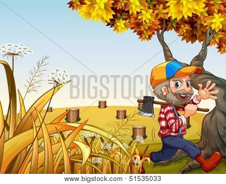 Illustration of a hilltop with a smiling woodman carrying an axe