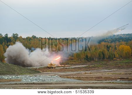 TOS-1A system from fighting and resupply vehicles attacks target. Russia poster