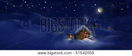 Christmas night, winter, scenic village panorama - wooden hut, lantern, snow, church, pine trees, Moon, stars. Copy space, illustration