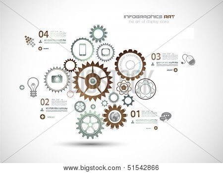 Infographics and High Tech background for business purposes like presentation covers or technology related posters.