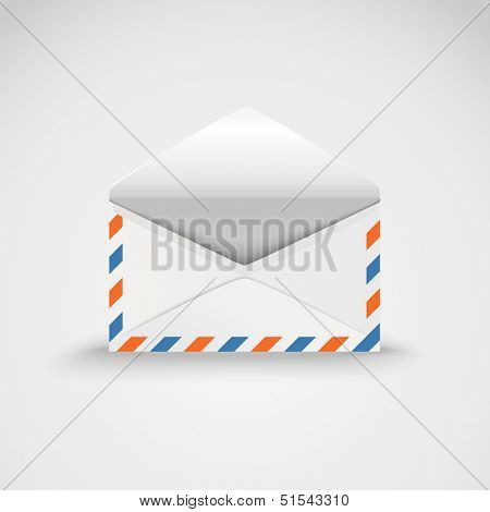 Open white envelope. Vector template ready for a content