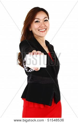A Beautiful Woman Holding A Business Or Credit Card Isolated On White Background