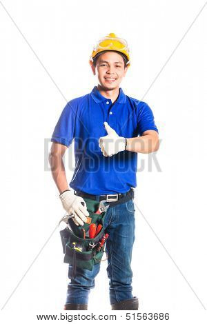 Indonesian Asian builder or construction worker with helmet and  tool belt