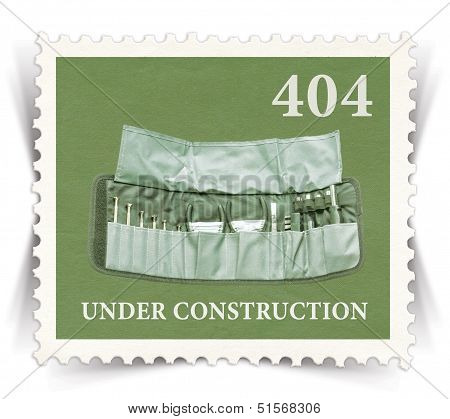 Label For 404 Error Web Page Stylized As Post Stamp