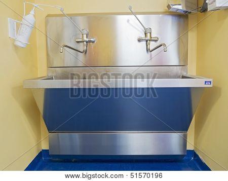 Metal Sink In Hospital Room