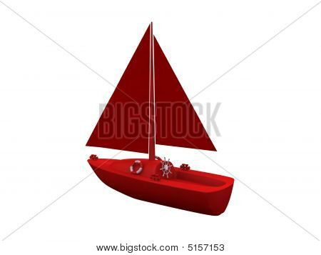 ship. 3D yacht sport icon on white poster