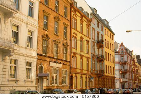 Hauses On The Street Of Frankfurt