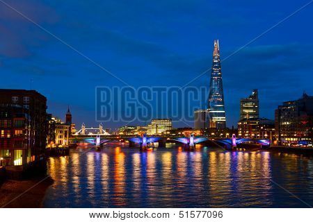 London cityscape with Southwark Bridge and The Shard skyscraper poster