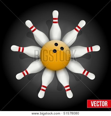 Bowling pins and ball with a flower