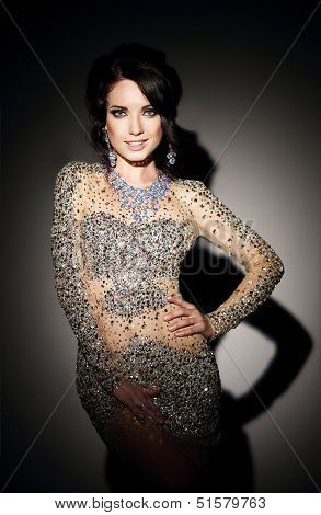 Glam. Successful Lady In Silver Evening Dress  Over Black