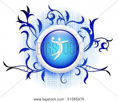volleyball icon on blue decorative button
