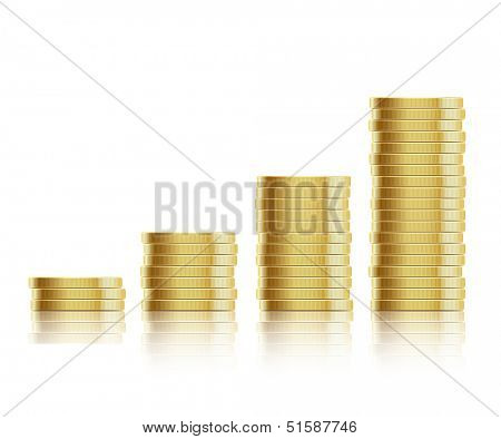 Vector illustration. Many gold coins isolated on white background. Loose Change. EPS10.
