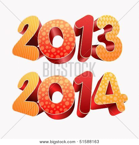 Year 2013 and 2014  All elements are layered separately in vector file. Easy editable.