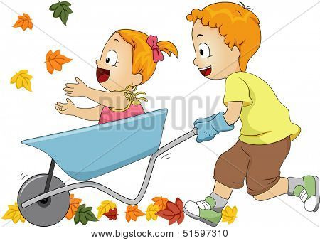 Illustration of a Pair of Siblings Running Leaves Over with a Wheelbarrow