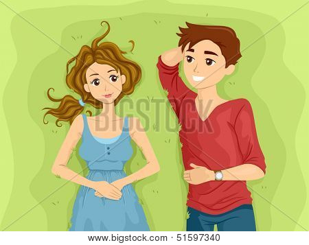 Illustration of a Teenage Couple Lying Side by Side on a Stretch of Grass