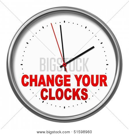 An image of a clock with the text