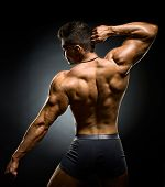 the very muscular back of a bodybuilder poster