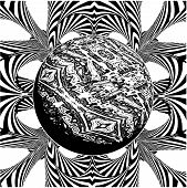 Black And White Gamma Ray Burst Planet Vector poster