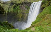 Middle height view of skogafoss waterfall on the South of Iceland near the town Skogar poster
