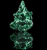 malachite mineral stone close up  with reflection on black surface background poster