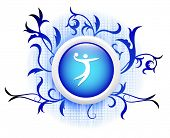 volleyball icon on blue decorative button poster