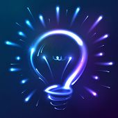 Bright blue neon lights vector abstract bulb poster