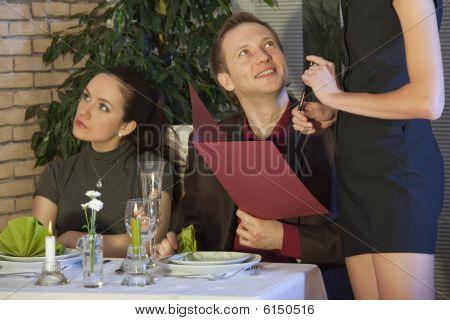 Man Flirting With Waitress