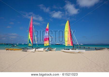 catamaran sailboats in Illetes Formentera beach at Balearic Islands