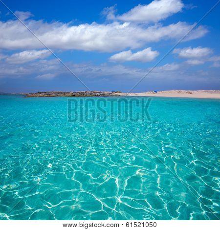 Formentera Illetes Illetas tropical beach near Ibiza at Balearic islands of Spain
