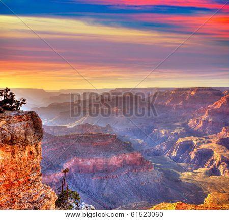 Arizona sunset Grand Canyon National Park Yavapai Point USA poster