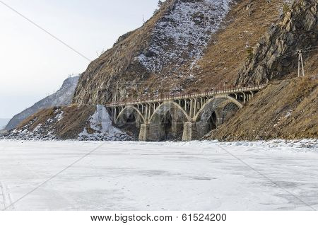 Viaduct on the section of Circum-Baikal Railway Old Angasolka village