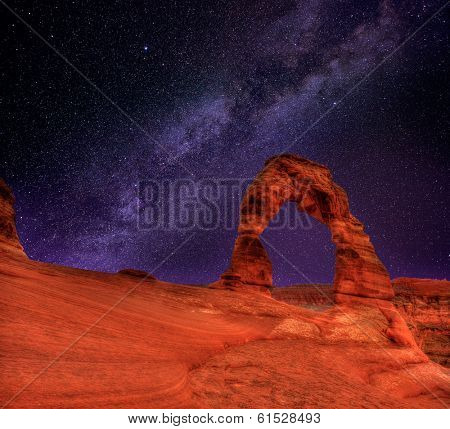Arches National Park Delicate Arch milky way night sky in Moab Utah USA photo mount