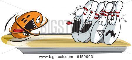 Terrified bowling pins